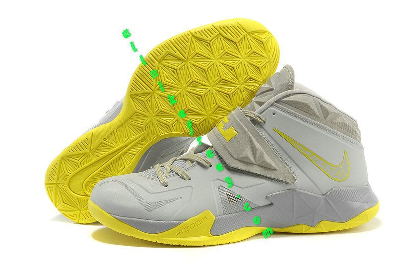 lowest price 8971e b4d02 Nike Zoom Lebron Soldier 7 Pure Platinum Wolf Grey Sonic Yellow 599264 001