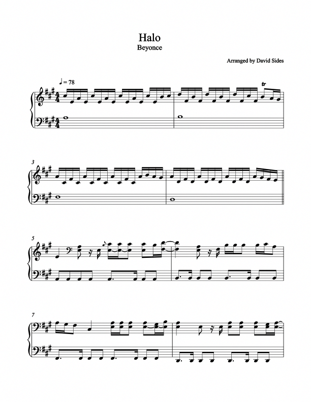 Halo Beyonce Piano Sheet Music David Sides Enterprises Inc