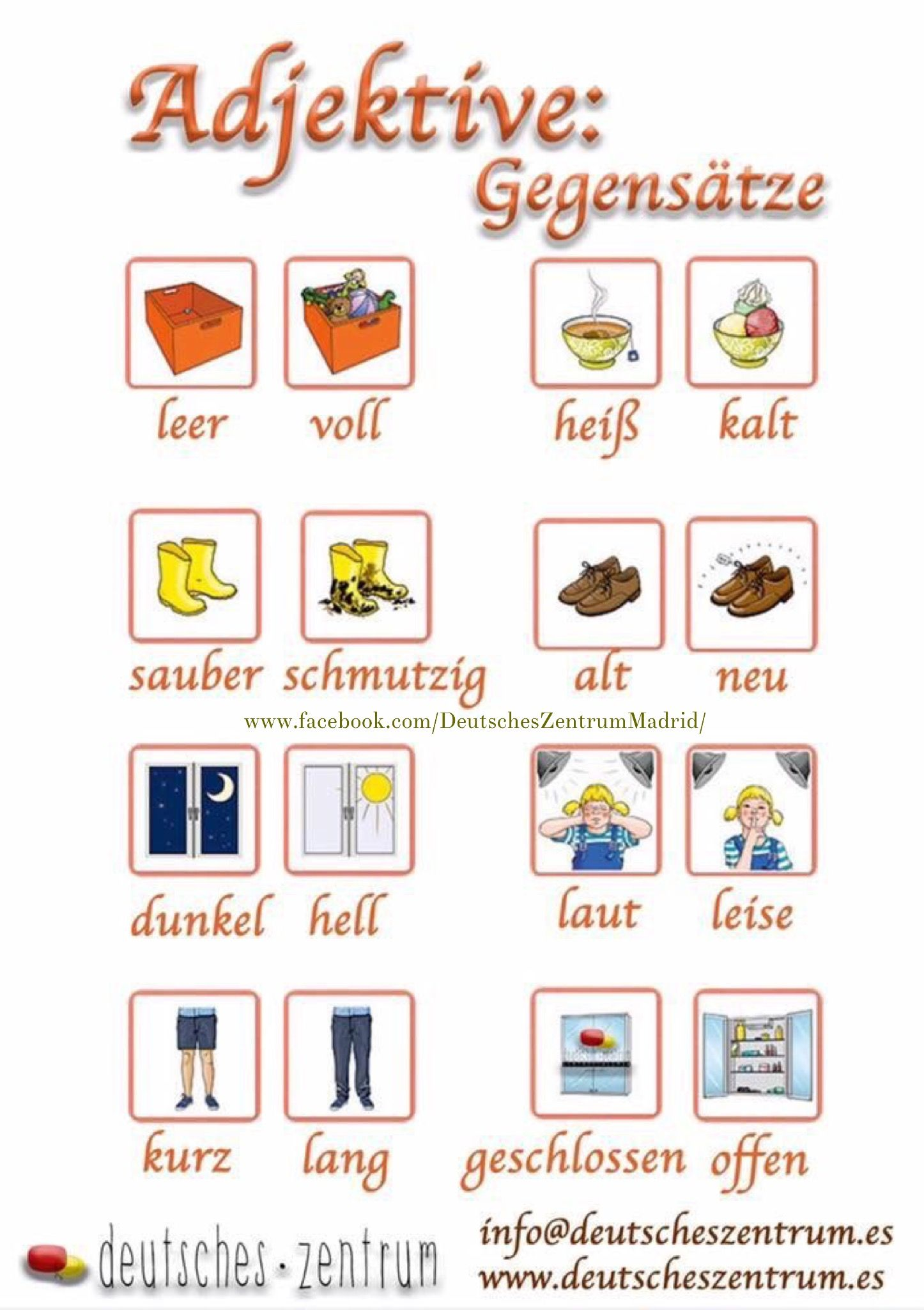 Adjektive Deutsch Wortschatz Grammatik German DAF Alemán Vocabulario ...