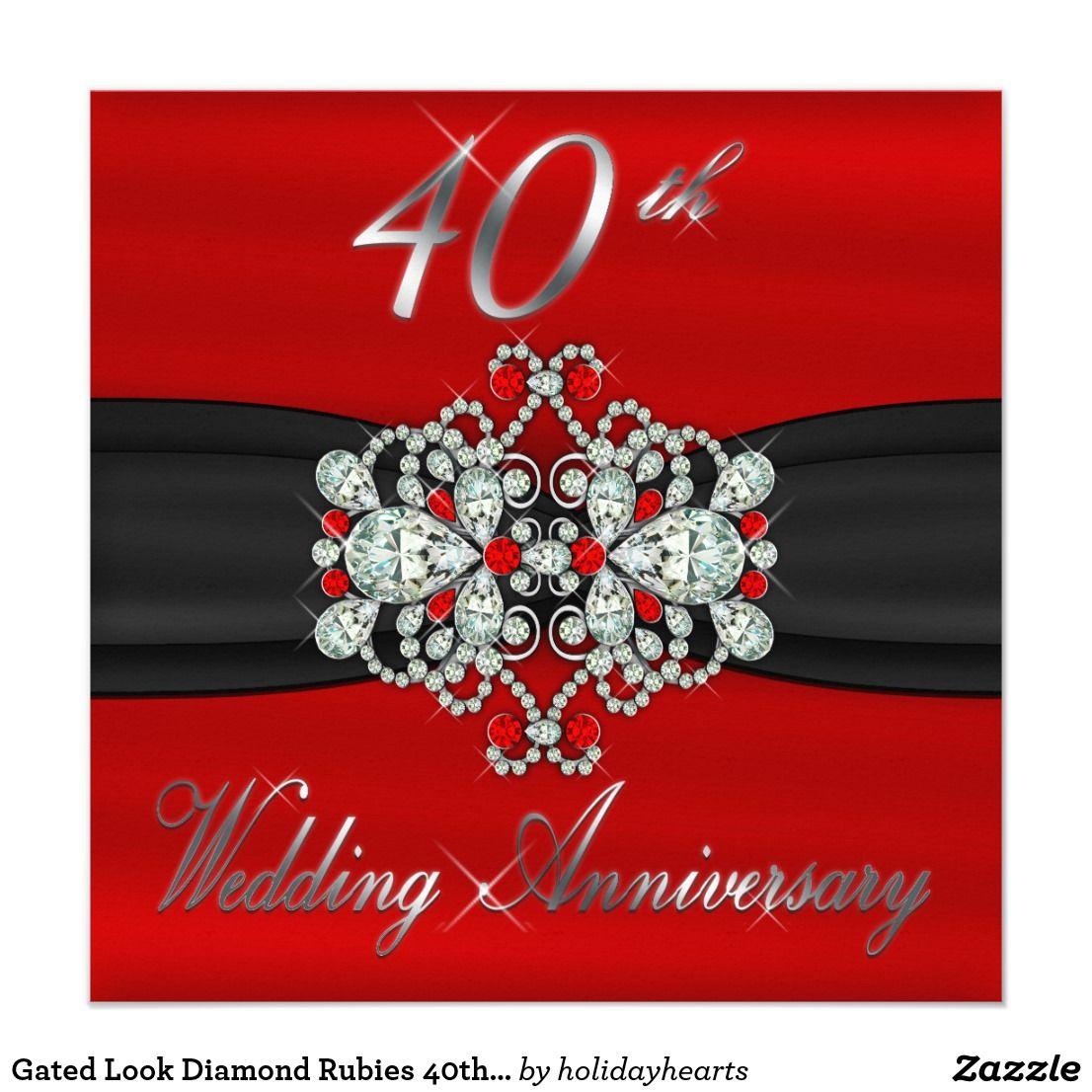 Gated Look Diamond Rubies 40th Wedding Anniversary Card | 40th ...