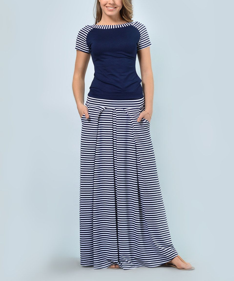 8969a9fff9a Lila Kass Navy Stripe Scoop Neck Tee   Maxi Skirt - Plus Too by Lila ...