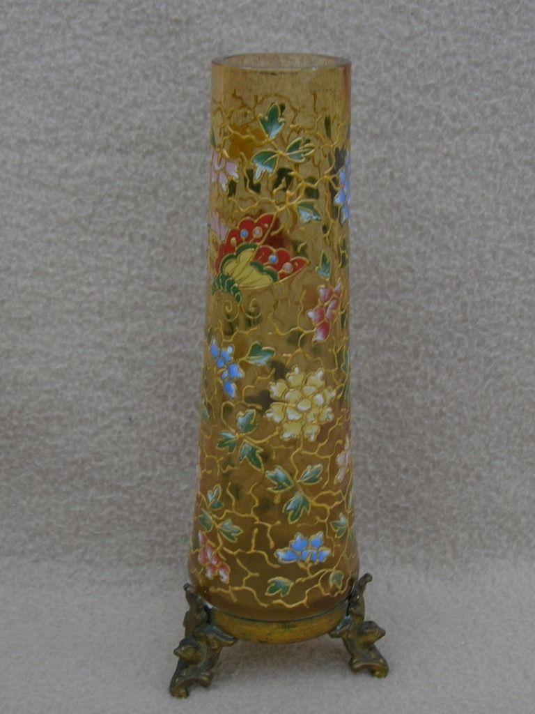 Antique victorian bohemian harrach moser amber glass vase antique victorian bohemian harrach moser amber glass vase enamelled butterfly in pottery porcelain glass reviewsmspy