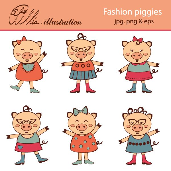 This Fashion piggies set clipart comes with 6 clipart graphics featuring 6 cute fashionable piggy characters.