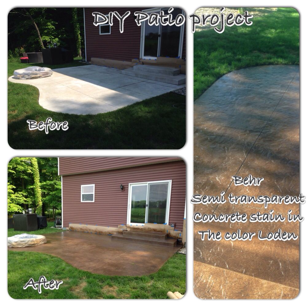 patio makeover concrete stain transforms ugly concrete slab into