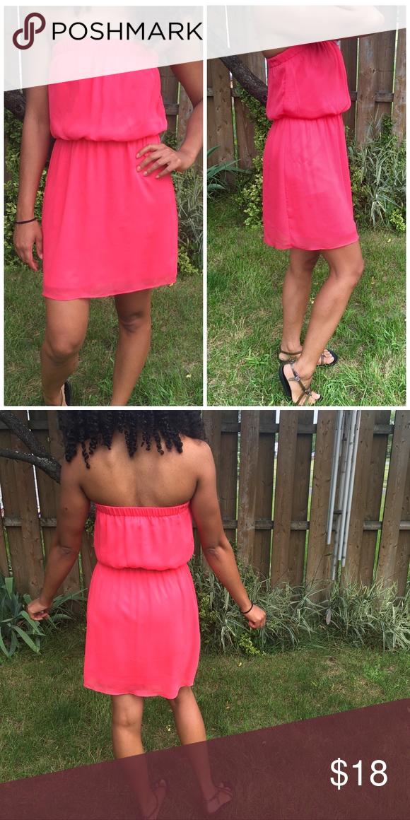 EXPRESS Strapless Chiffon Summer Dress 100% Polyester Express Dresses Strapless