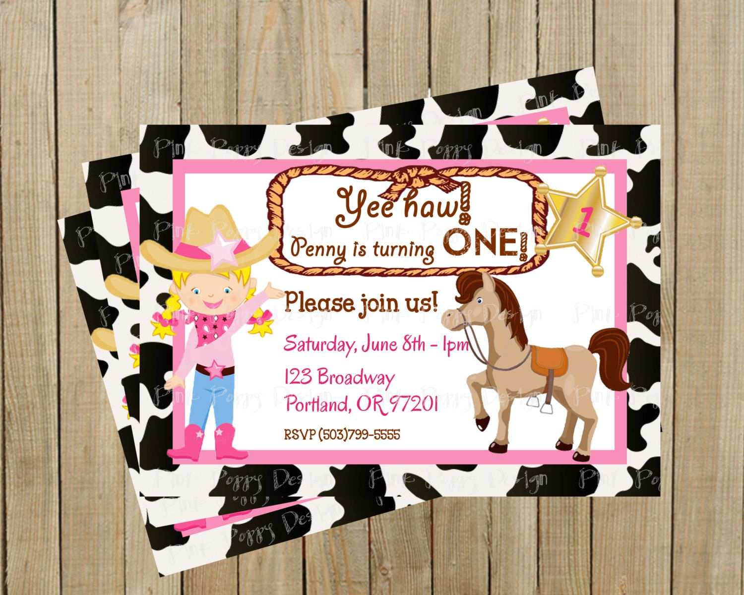 Adorable cowgirl with horse on cow print first birthday invitation adorable cowgirl with horse on cow print first birthday invitation custom digital file pink filmwisefo Images