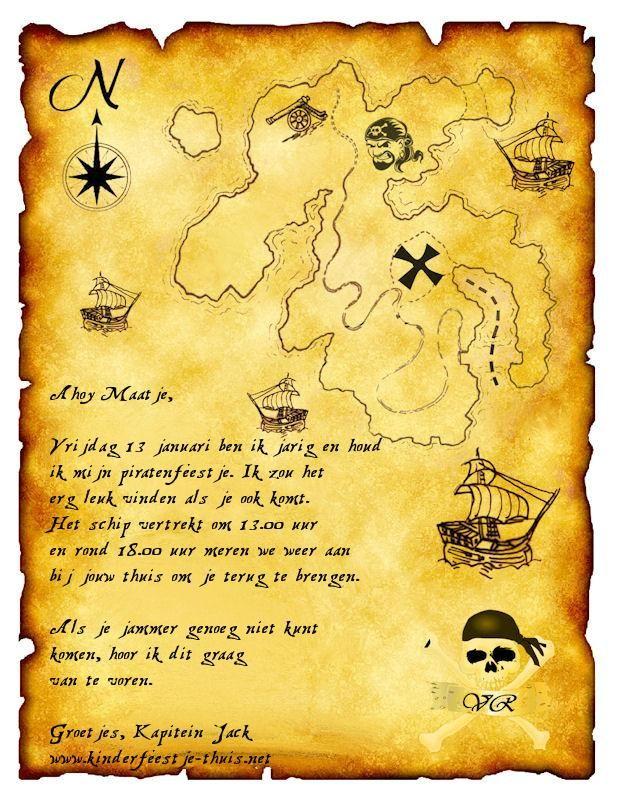 uitnodiging piraten kinderfeestje