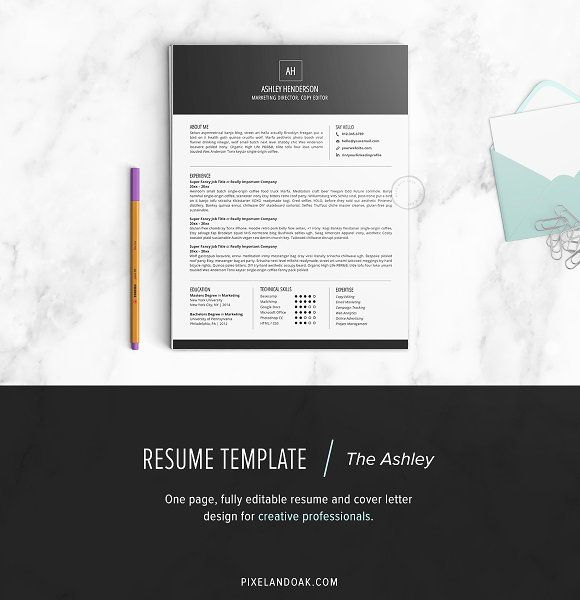 Resume Template The Ashley by Pixel  Oak on @mywpthemes_xyz - simple resume format