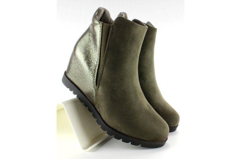 Botki Damskie Obuwiedamskie Zielone Botki Damskie Na Ukrytym Koturnie Khaki Obuwie Damskie Hot Shoes Boots Nice Shoes
