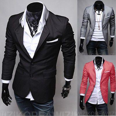 Nuevo Y Elegante Para Hombre Casual Slim Fit de dos botones traje chaqueta de abrigo chaqueta Tops D34