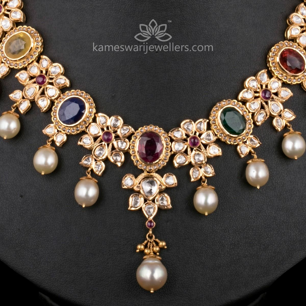 Maharani navratna polki haar in jewelry pinterest