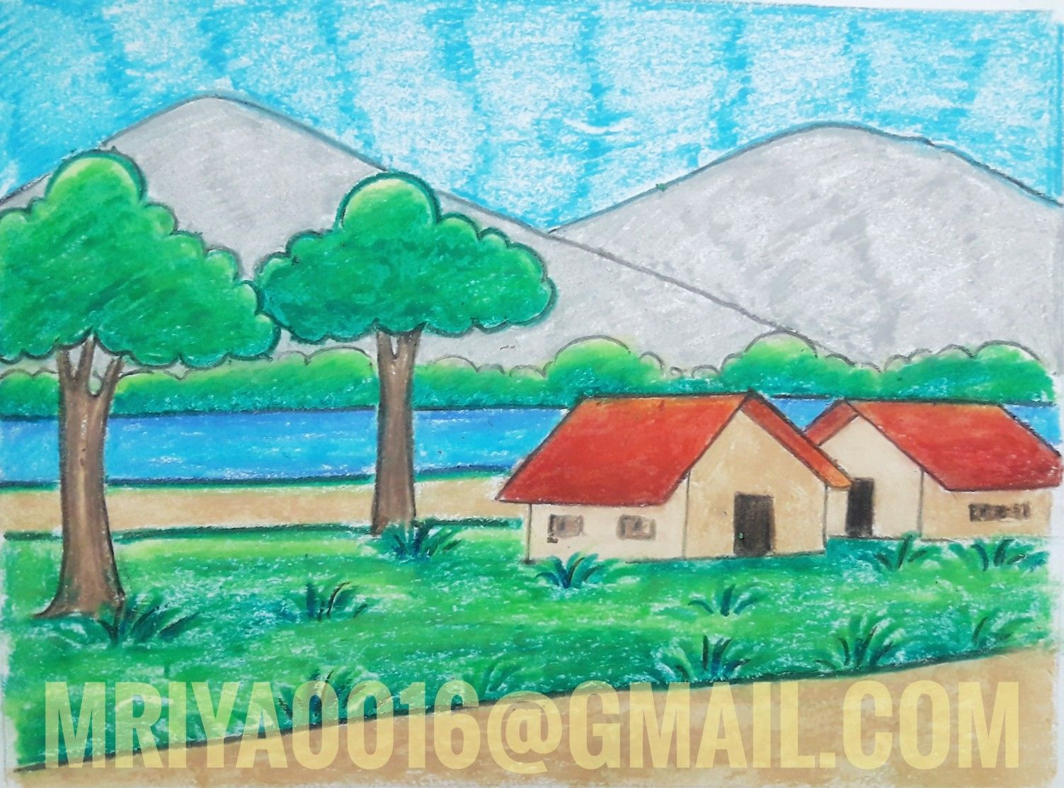 Scenery Painting For Kids With Images Scenery Drawing For Kids