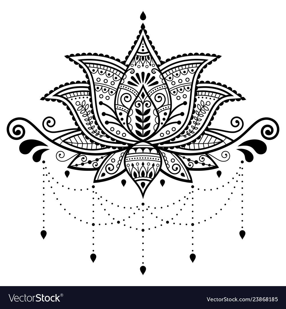 Beautiful Lotus Pattern Inspired By Traditional Tattoo Art From India Boho Style Download Lotus Flower Henna Lotus Flower Tattoo Design Lotus Flower Design
