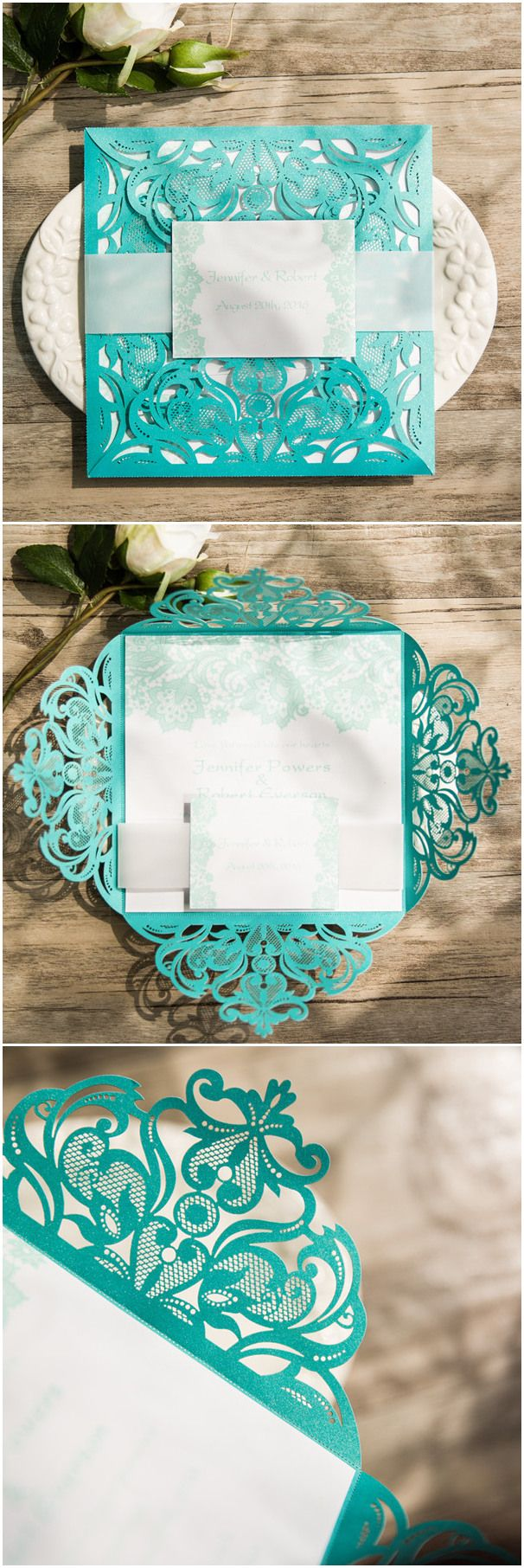 Teal Colored Laser Cut Wedding Invitations With Free Rsvp Cards Ewws112 Elegantwinvites