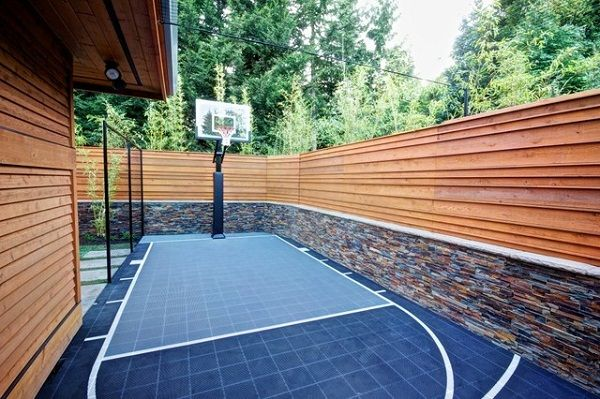 contemporary small outdoor patio basketball court design - Home Basketball Court Design