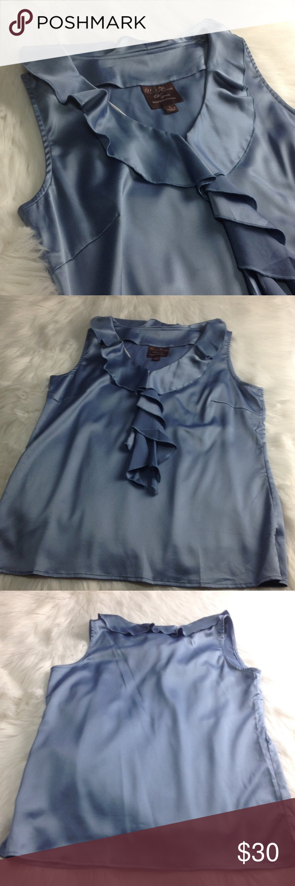 """Undercover Agent Top Undercover Agent By Kathleen Kirkwood steel blue stretchy lined ruffled sleeveless dressy top, chest 40"""", waist 38"""", length 26"""", (size tag S, I think it's wrong, measures more like a M - therefore listed as a M: please compare prior to purchase) NWOT Kathleen Kirkwood Tops Blouses"""