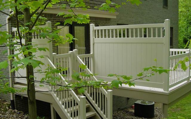 Deck With Vinyl Fence Privacy Panel Vinyl Fence Deck Backyard