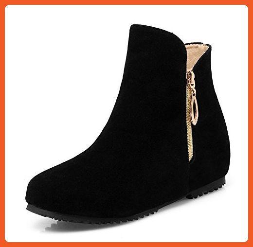 a18d30b2d265 Aisun Women s Cute Round Toe Side Zipper Elevator Low Heels Ankle Boots  Booties Shoes Black 5 B(M) US - Boots for women ( Amazon Partner-Link)
