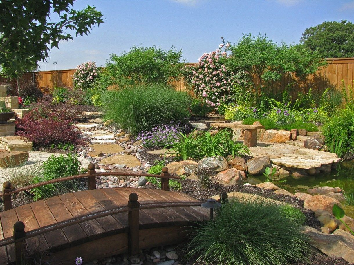 Water Efficient Plants Slate Rock And Bridge With