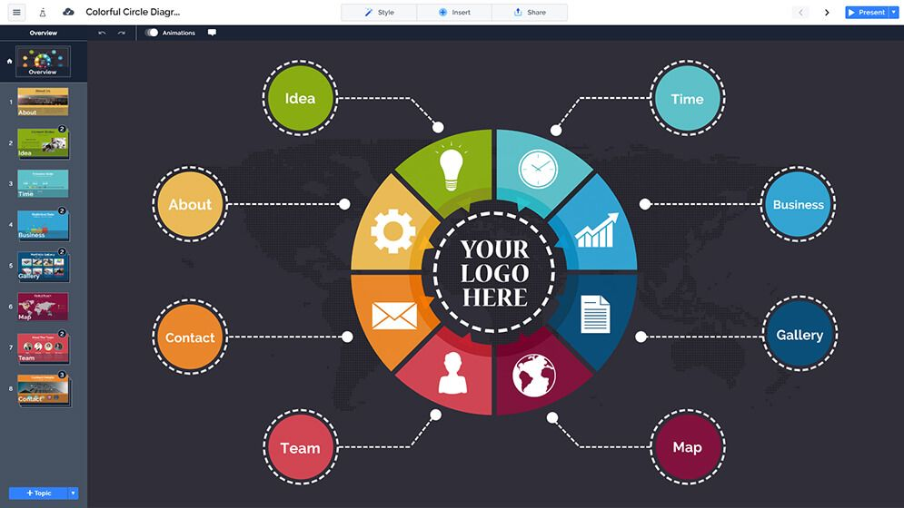 Free Colorful Circle Diagram Free Prezi Next Presentation