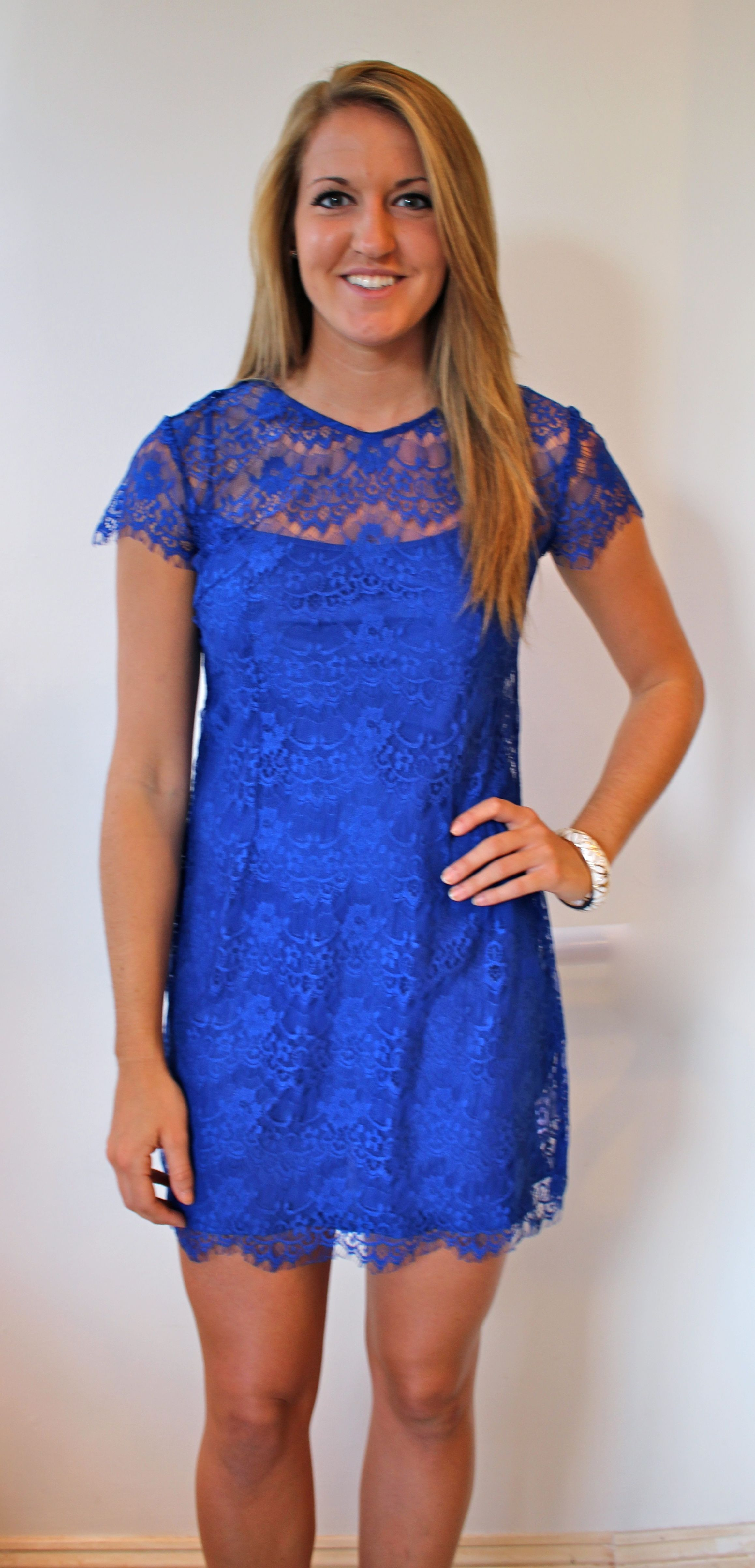 Cobalt blue lace dress perfect for late summer early fall events!