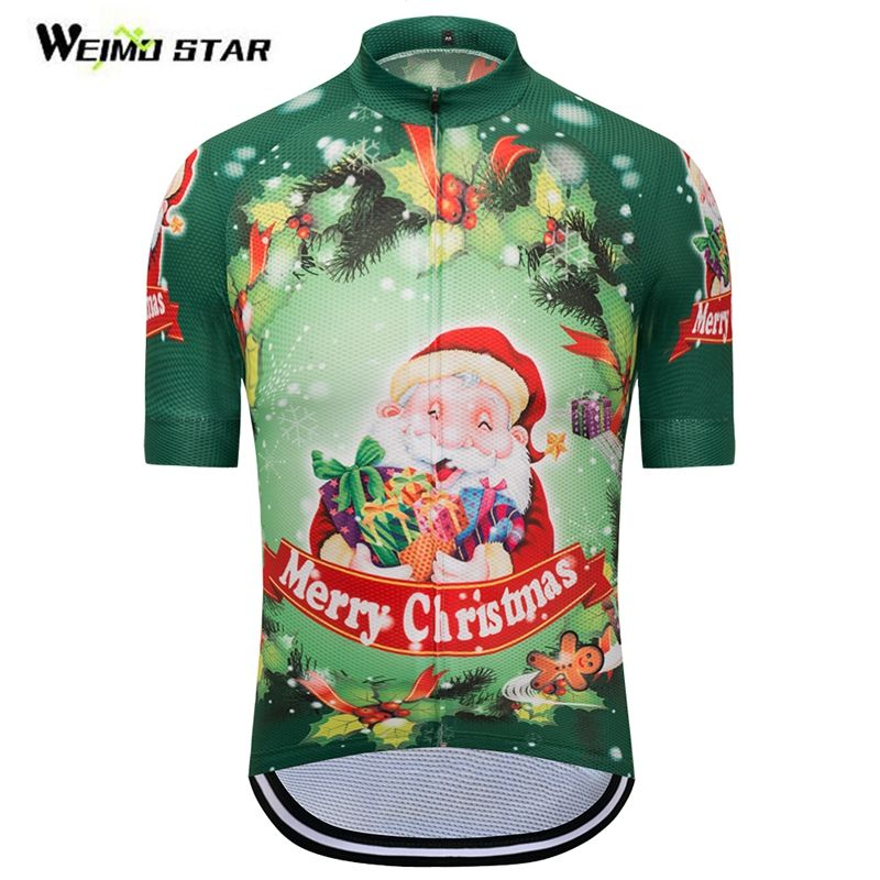 Cycling Jersey Short Sleeve Cycling Clothing Women Men Cycle Bike Wear  Merry Christmas Tree Wreath Santa Claus Clothes Green Red. bec399cc5