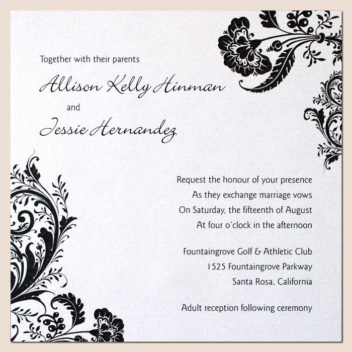 2nd Wedding Invitation Wording: Invitación Moderna En Blanco Y Negro