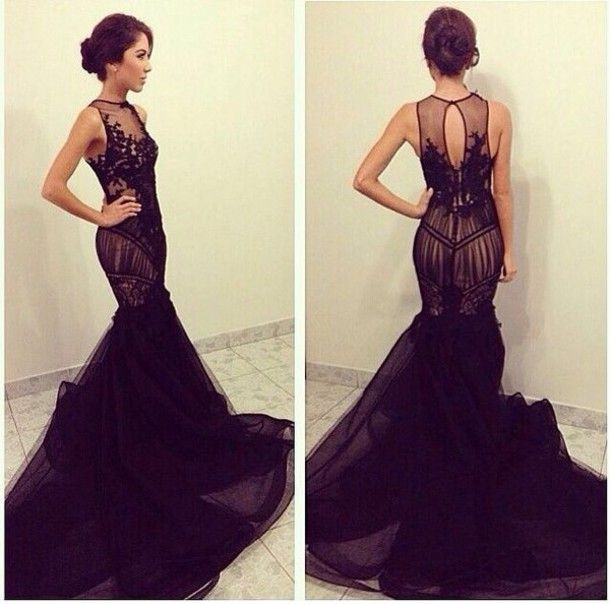 Elegant 2016 Sexy Black Prom Dresses Mermaid Formal Evening Soiree ...