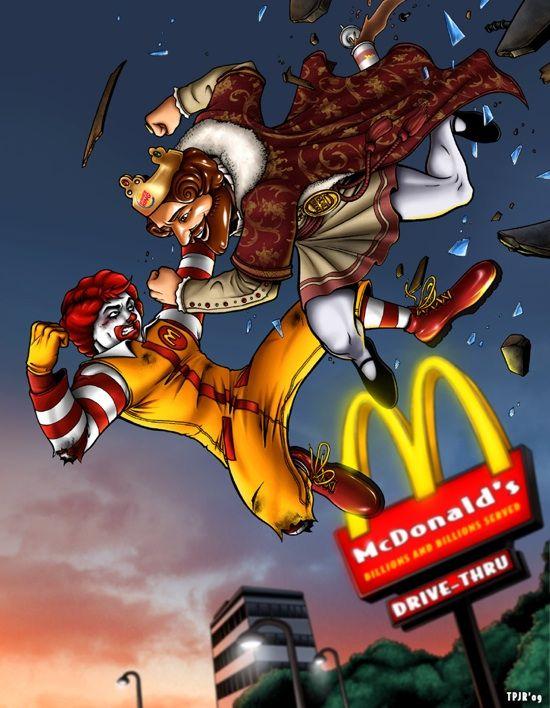 Funny Mcdonalds Artwork Gallery Burger King Cartoon Illustration Mcdonalds