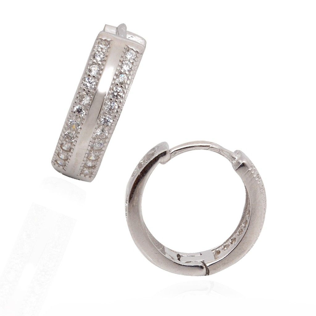 Earrings | Fancy Double Layer White Stones Studded Silver ...