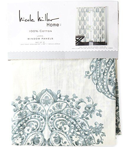 Nicole Miller Marchesa Paisley Medallion Pair Of Curtains In Grey Greenish  Gray Ivory Colors Medallion Print