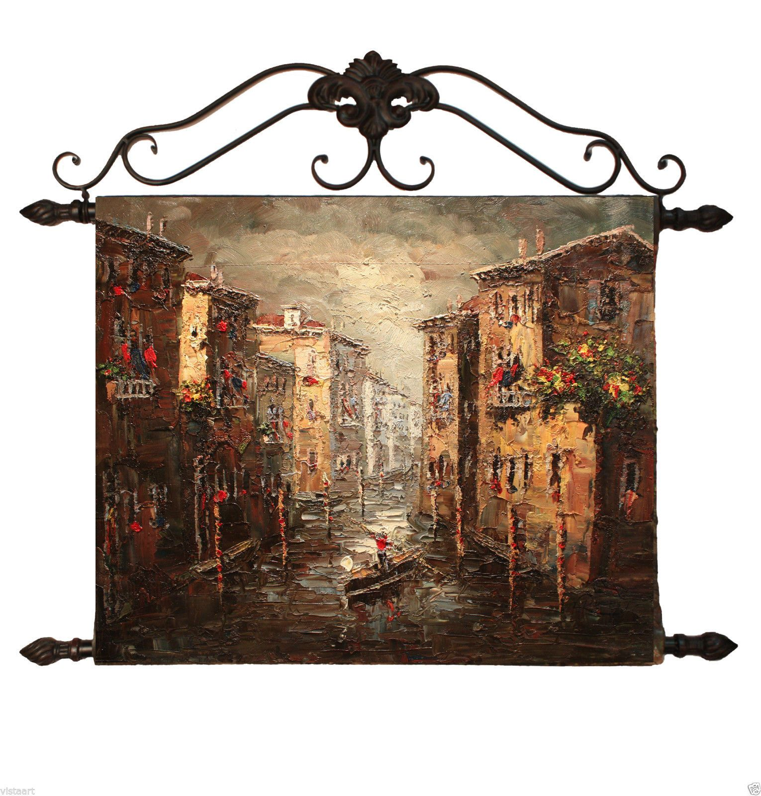 """Oil Painting On Canvas Tapestry W/Metal Rods 20""""x24""""- Venice in Home & Garden, Home Décor, Tapestries 
