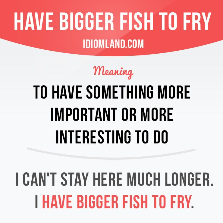 Idiom Have Bigger Fish To Fry Meaning To Have Something More