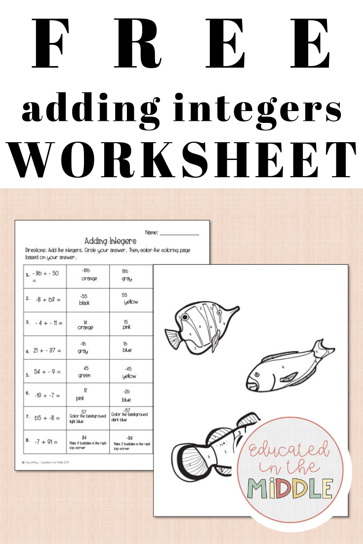 Free adding integers worksheet color by number (With