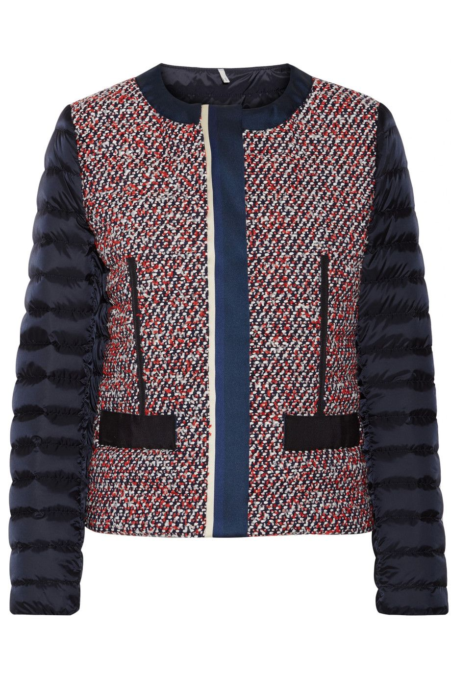 Moncler Ossau tweed and quilted shell down jacket NET