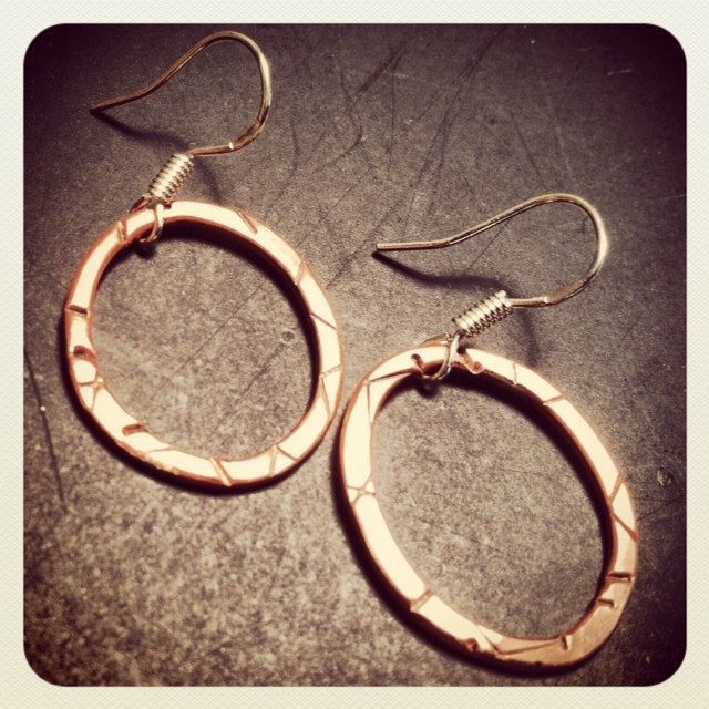LINE AND FORM oxidized hammered recycled copper loops