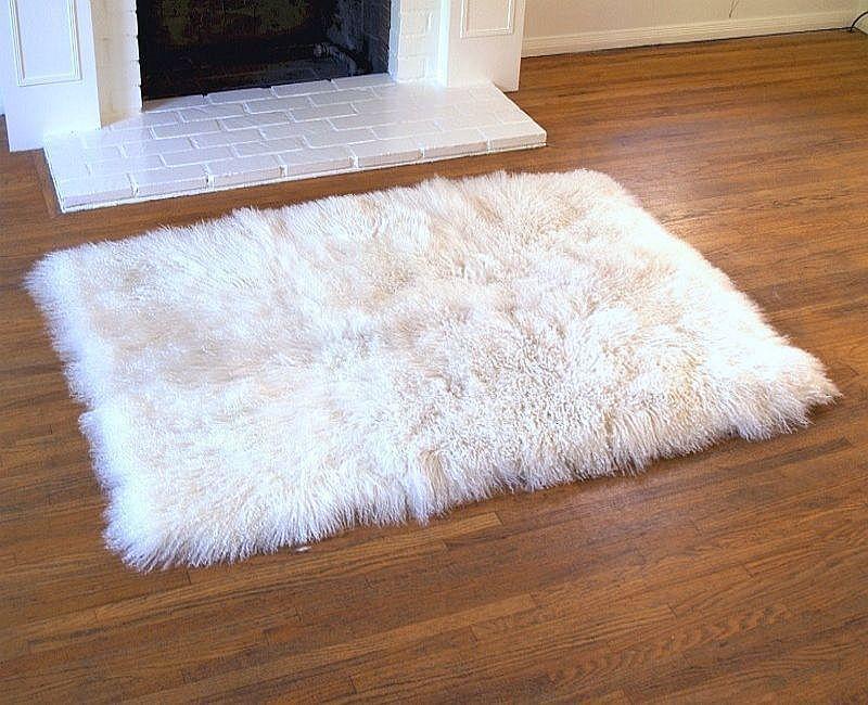 hollywood love rugs - tibetan lamb long wool throw rug white