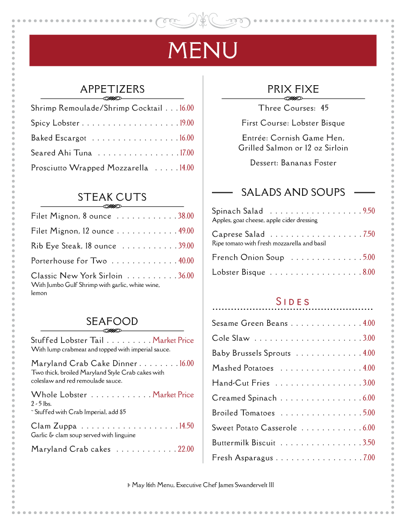 menu example the street cafe menu restaurant menu template