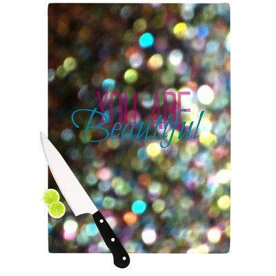 "KESS InHouse You Are Beautiful Cutting Board Size: 11.5"" H x 15.75"" W x 0.15"" D"