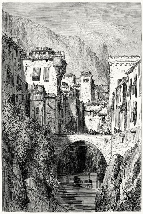The Banks Of The Darro Gustave Dore From Le Tour Du Monde Around