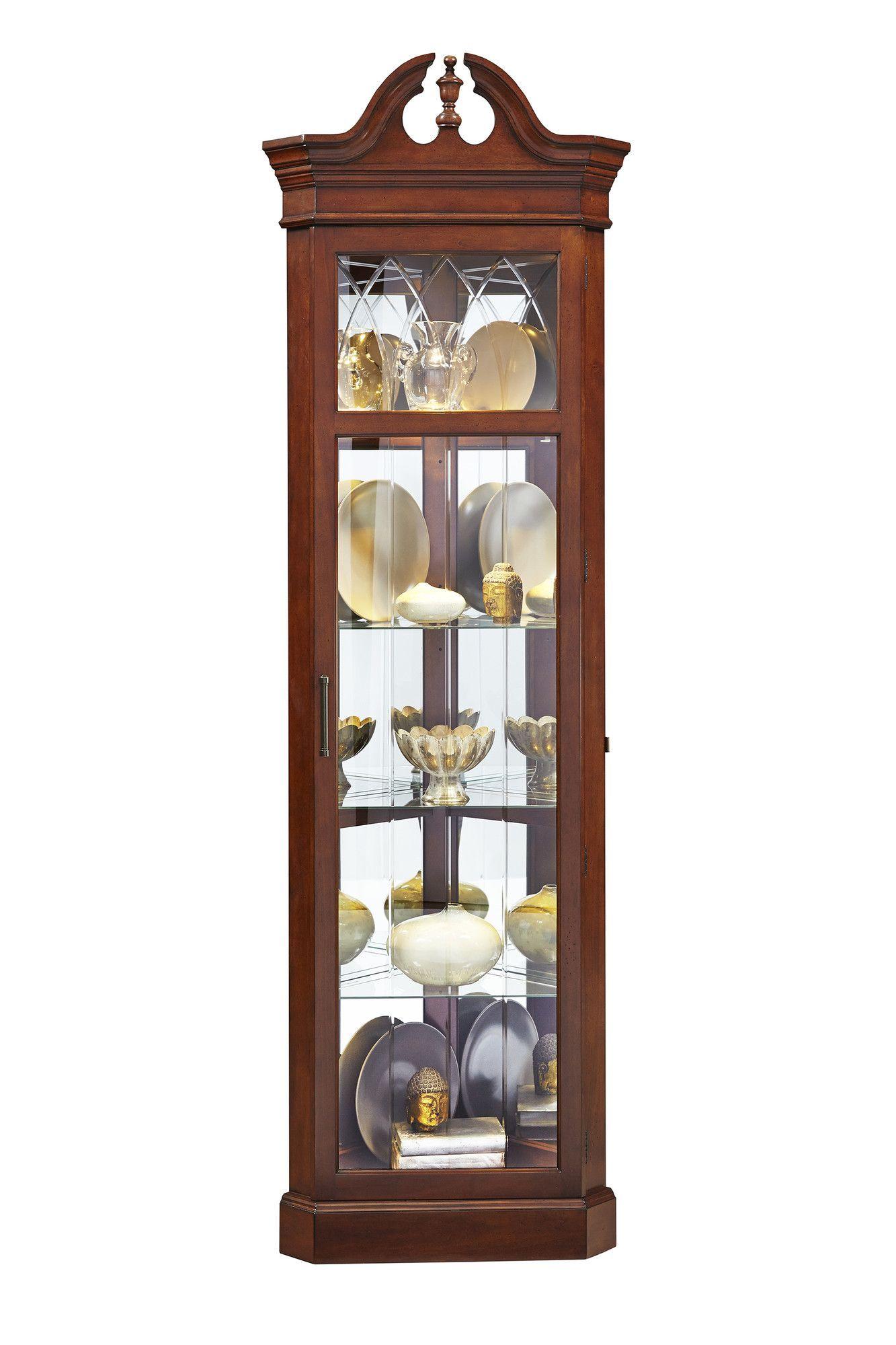Erastus Lighted Corner Curio Cabinet In 2019 Corner Curio