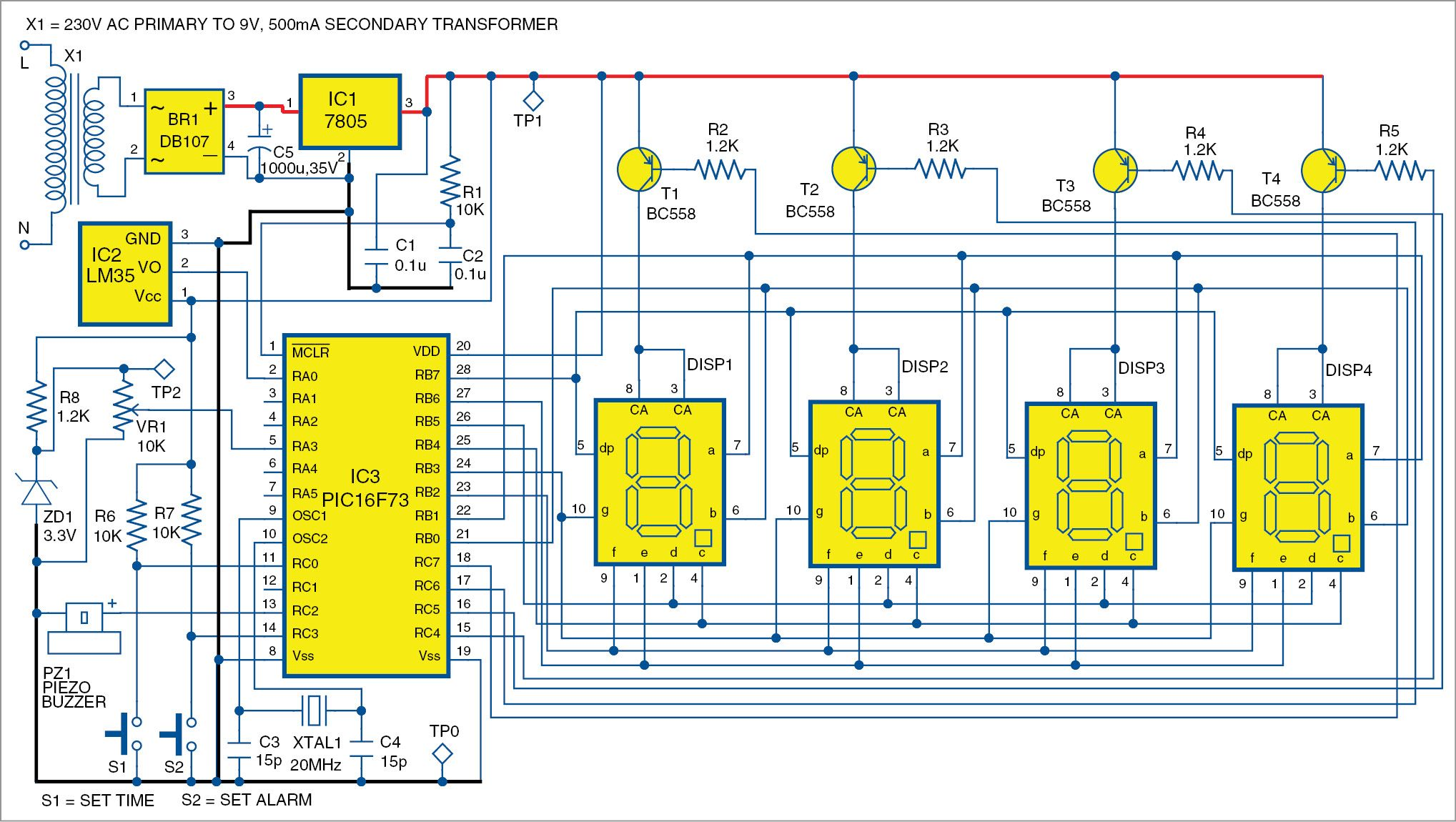 Pic Projects Alarm Clock Cum Temperature Indicator Arduino And Pi Electronic Kit Ultrasonic Mosquito Repeller Circuit 1 Of The