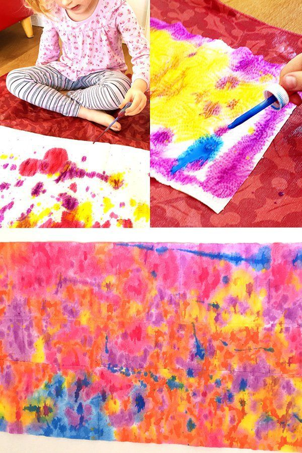 Kids Art Ideas Drip Painted Paper Towel Great Activity For Learning About Colour Mixing Fun Preschool And Kindergarten