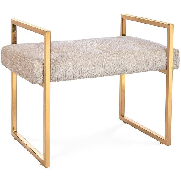 Jonathan Adler Caine Pearl (White) Bench ($595) ❤ liked on Polyvore featuring home, furniture, benches, potters bench, colored furniture, jonathan adler furniture, jonathan adler and pearl furniture