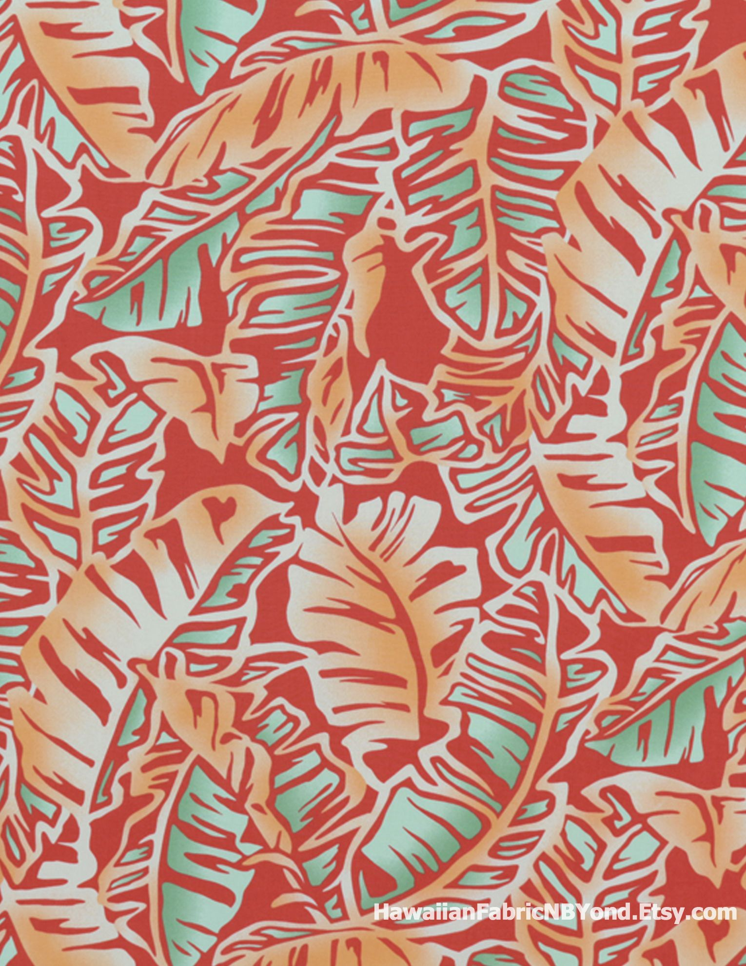 tropical leaf fabric large print of banana leaves in oranges