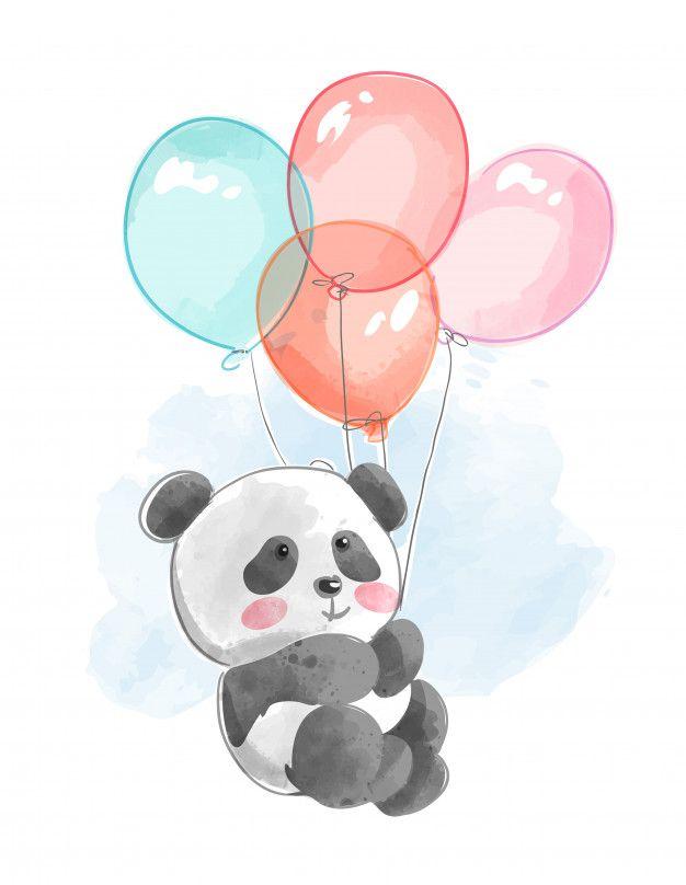 Милая панда летит с воздушными шарами