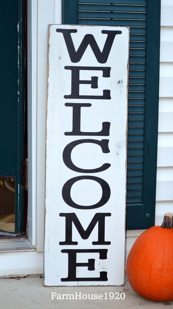Large Welcome Sign Vertical Welcome Wood Sign Custom