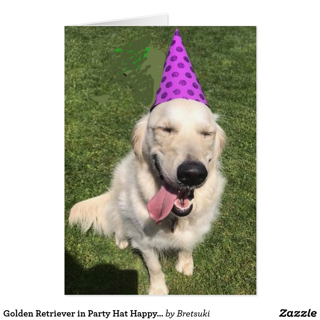 Golden Retriever In Party Hat Happy Birthday Greet Card Zazzlecom