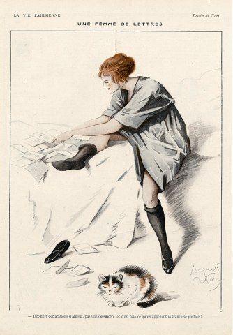 39 39 une femme de lettres 39 39 by jacques nam from la vie parisienne a vintage french magazine. Black Bedroom Furniture Sets. Home Design Ideas