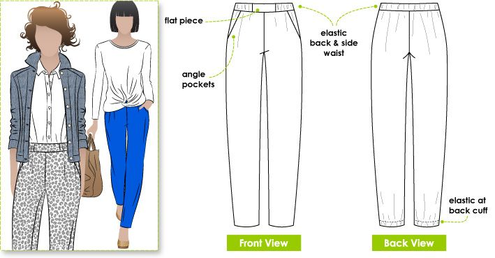Lola pants from styleArc  Casual elastic waist pant with pockets   back hem  detail 73e939f2803